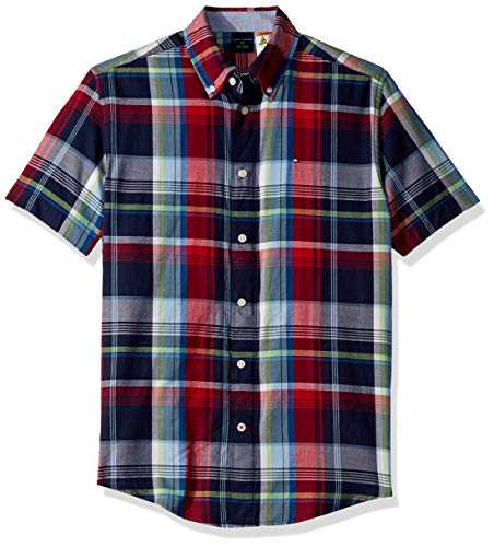 Tommy Hilfiger Men's Adaptive Magnetic Short Sleeve Button Shirt Custom Fit, Peacoat, X - Custom Buttons Magnetic