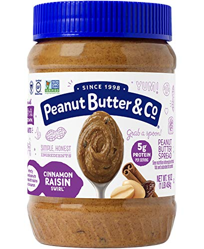 (Peanut Butter & Co. Cinnamon Raisin Swirl Peanut Butter, Non-GMO Project Verified, Gluten Free, Vegan, 16 oz Jars (Pack of 6))