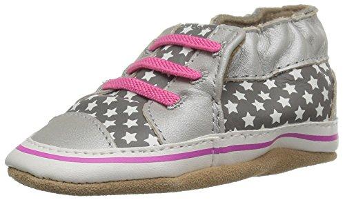 Silver Kids Trainer (Robeez Girls' Trendy Trainer Slip-on, Trendy Trainer Silver, 12-18 Months M US Infant)