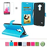 LG G4 Case Cover [with Free Screen Protector], Funyye Classical Pure Colour Premium Folio Leather Wallet Magnetic Flip Cover with [Credit Card Holder Slots] Book Type Style With Ultra Thin Fitted Protective Cover Shell for LG G4 - Blue