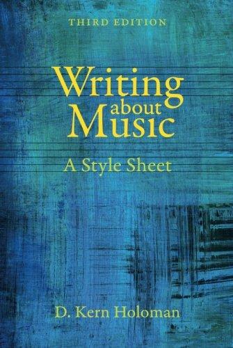 Style Sheet Music - Writing about Music: A Style Sheet