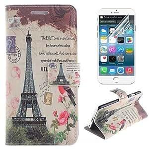 ZXM- Torre Eiffel y el diseño de la PU cuero de la cubierta de cuerpo completo birdie con el soporte y la película protectora para el iphone 6