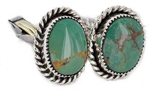 - $280Tag Certified Silver Navajo Natural Turquoise Native American Cuff Links 19123 Made by Loma Siiva