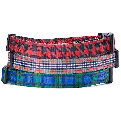 Checkered Nylon Adjustable Collars - Red Black Lumberjack Plaid Dog Collar (Lumberjack, Medium)