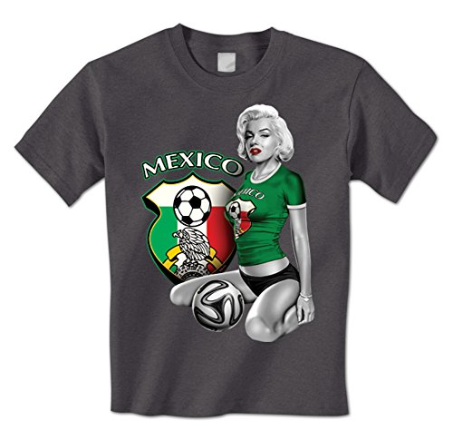 Marilyn Mexico Mexican World Cup Soccer Crest Sexy Mens T-Shirt XXL Charcoal