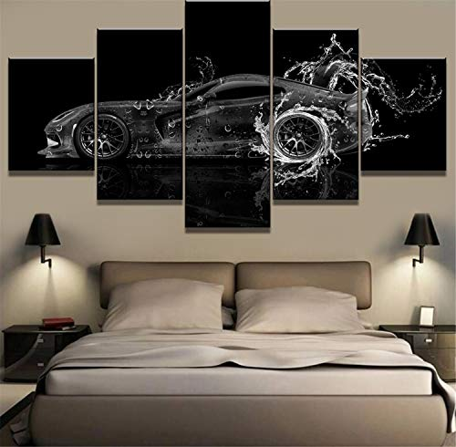 NATVVA 5 Piece Canvas Art Dodge Viper Water Car Poster Modern Decorative Paintings on Canvas Wall Art Home Decorations Wall Decor