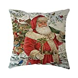MIARHB Vintage Christmas Theme Pillow Covers Home Decorative Soft Square Pillow Cases Christmas Series Cushion Pillowcovers(A, 18'' x 18'')