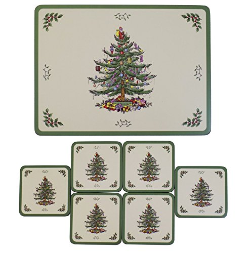 (SET OF 6 SPODE CHRISTMAS TREE DESIGN CORK BACKED PLACEMATS &)
