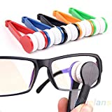2 Pcs Mini Portable Glasses Eyeglass Sunglasses Spectacles Microfiber Cleaner Brushes