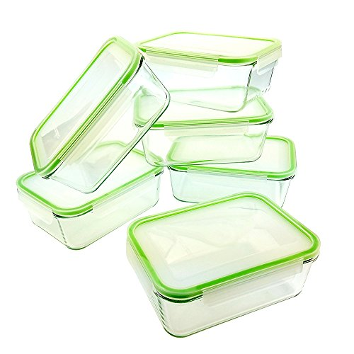 Kinetic GoGreen Glassworks 54 oz 12Piece Rectangular Oven Safe Glass Food Storage Container Set; 6 Glass Containers & Lids, Clear