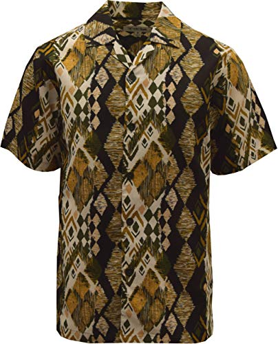 (STACY ADAMS Linen Blend Print Shirt- Multi Color Abstract Motif (XXL,)