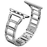 for Apple Watch Band 38mm,Adjustable Fashion iwatch Bands for Women,Replacement Metal Sport Strap for Iwatch Series 3 2 1,Nike+,Edition (38mm, Silver)