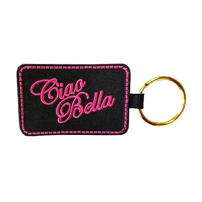 Amazon.com: Ciao Bella Llavero - Negro con bordado rosa ...