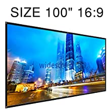 """Vivider (TM) Projection Screen 100"""" 16: 9 Portable and Collapsible Wall Ceiling Mount Projector Screen (125x220cm)- Matte White"""