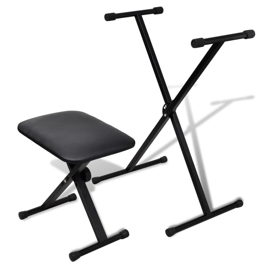 vidaXL Set of Stool & Keyboard Stand X-Stand Piano Bench Padded Seat Adjustable Height