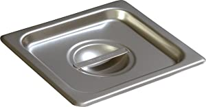 Carlisle 607160C DuraPan Light Gauge Stainless Steel Sixth-Size Steam Table Food Pan Handled Cover (Pack of 6)