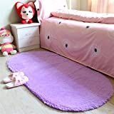 moonrug Ultra Soft Fluffy Oval Area Rugs Shaggy Living Room Rug Solid Color Non-Slip Bedroom Bedside Rug Runners 2.7' x 5.3', Purple