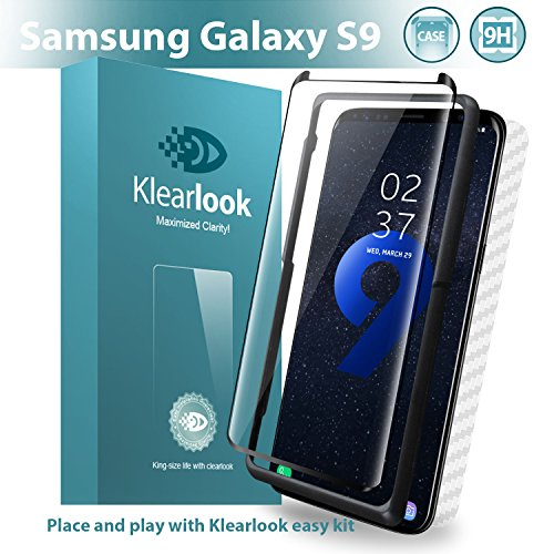 Galaxy S9 Screen Protector Tempered Glass Case Friendly Design, Included [Easy Install Tool & Back Skin Sticker], Klearlook 9H Anti Scratch Curve Edge Fit Samsung Galaxy S9 Screen Protector