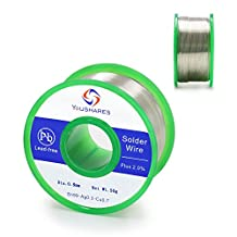 YOUSHARES Lead Free Solder Wire with Rosin Core, Net Weight 0.11lb for Most Electrical Repair Soldering Purpose ( 0.8mm, Sn99%-Ag0.3%-Cu0.7%, flux 2.0% )
