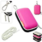 New first2savvv outdoor heavy duty pink camera case for Samsung PL80 PL200 ES75 ES71 ES65 ES30 ST95 ES70 ST6500 ST30 with white camera hand strap