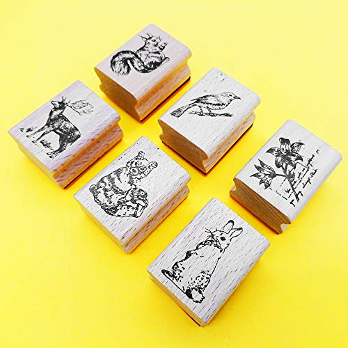 (Youkwer 6 Pcs Mini Cute DIY Wooden Rubber Stamps Diary Scrapbooking Stamps Set for Kids School DIY Cards Crafting (Set of)