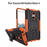 Heartly Xiaomi Mi Redmi Note 4 Back Cover Kick Stand Rugged Shockproof Tough Hybrid Armor Dual Layer Bumper Case - Mobile Orange