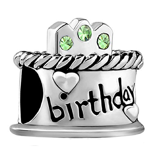 (Happy Birthday Cake Candles Jan-Dec Birthstone Crystal 925 Sterling Silver Bead fit European Charms (Pale Green August Birthstone))