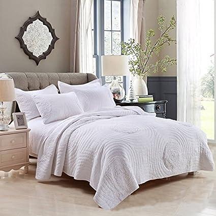 Amazon Hnnsi Cotton 3d Floral White Quilt Bedspread Sets King