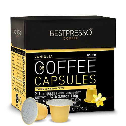 Nespresso Compatible Gourmet Coffee Capsules-120 Pod Variety Pack Caramel,Vanilla&Chocolate-For Original Line Nespresso Machine-Certified Genuine Espresso By Bestpresso-60 Days Satisfaction Guarantee