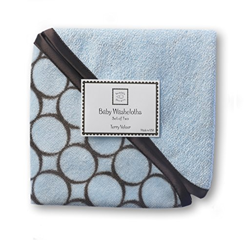 - SwaddleDesigns Cotton Terry Velour Baby Washcloths, Set of 2, Brown Mod Circles on Pastel Blue