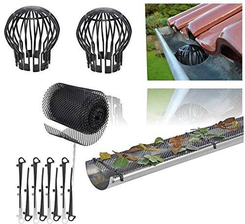 Dachrinnenschutz Set aus 24 Meter Dachrinnen Laubschutz Gitter für Regenrinne + 2 Fallrohr Schutz