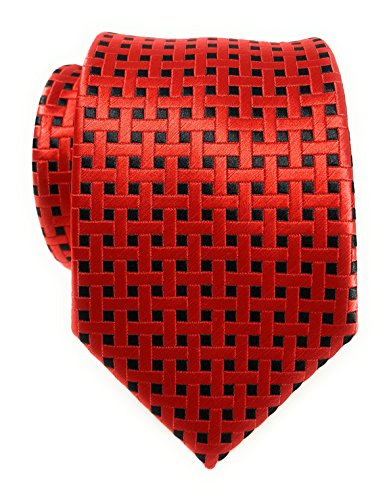 Labiyeur Men's Necktie: Fully Lined Woven Jacquard Slim Neck Tie Red Black - Tie Basketweave