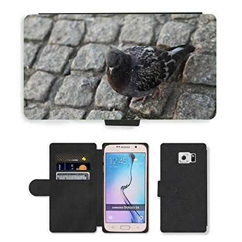 PU Flip Carcasa Funda de Cuero Piel Cubre Case // M00129777 Adoquín Piedra Animal Pico Bird City // Samsung Galaxy S6 (Not...
