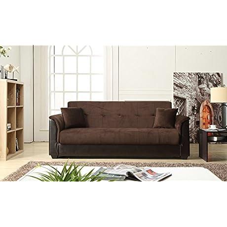 NHI Express Melanie Futon Sofa Bed With Storage Chocolate