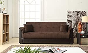 nhi express melanie futon sofa bed with storage chocolate amazon    nhi express melanie futon sofa bed with storage      rh   amazon