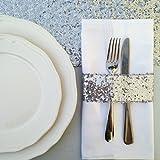 TRLYC 50pcs Glitz Sequin Napkin Holders 5.5cm x 14.0cm -Silver