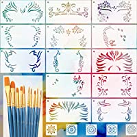 LLGLTEC 13 Pieces Face Painting Stencils Kit Reusable Face Paint Stencils for Face Art, Halloween Makeup with 10 Pieces Round Pointed Tip Nylon Hair Brush Set, 5 Pieces Mandala Dot Painting Stencils
