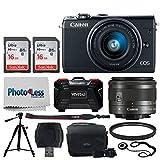 Canon EOS M100 Mirrorless Digital Camera (Black) + EF-M 15-45mm f/3.5-6.3 IS STM Lens (Graphite) + 32GB Memory Card + 49mm UV Filter + Quality Tripod + Memory Card Holder (24 Slots) + Cleaning Cloth