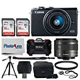 Canon EOS M100 Mirrorless Digital Camera (Black) + EF-M 15-45mm f/3.5-6.3 IS STM Lens (Graphite) + 32GB Memory Card + 49mm UV Filter + Quality Tripod + Memory Card Holder (24 Slots) + Cleaning Cloth