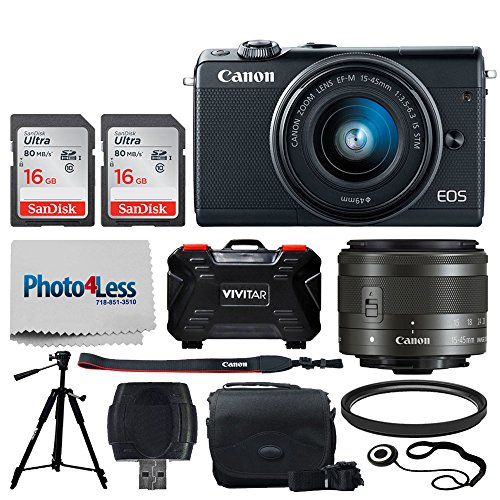 Canon EOS M100 Mirrorless Digital Camera (Black) + EF-M 15-45mm f/3.5-6.3 is STM Lens (Graphite) + 32GB Memory Card + 49mm UV Filter + Quality Tripod + Memory Card Holder (24 Slots) + Cleaning Cloth Review