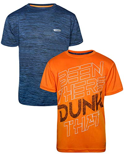 Hind Boys Performance Quick Dry Athletic Sports T-Shirt (2 Pack), Navy Heather/Orange, Size Large / 14-16