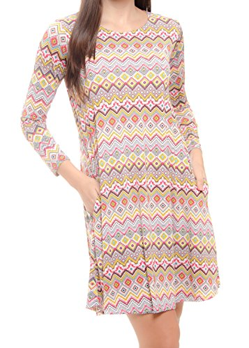 Ivory MODADEL Casual Long 087 44 with Sleeve Cream Pockets Dress for Woman Colors rq7nrRdp