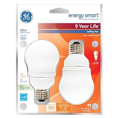 GE Lighting 49687 Energy Smart CFL 11-Watt (40-watt replacement) 450-Lumen A17 Light Bulb with Medium Base, 2-Pack