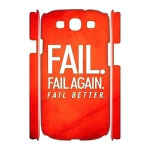 3D Case For Samsung Galaxy S3, Fail Better Case For Samsung Galaxy S3, White