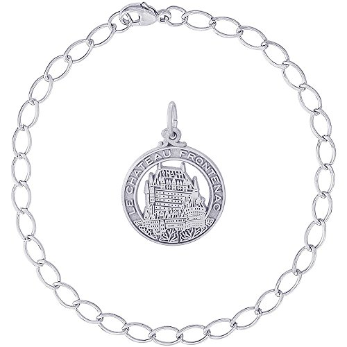 Rembrandt Charms Sterling Silver Chateau Frontenac Charm on a Elongated Oval Bracelet, 8