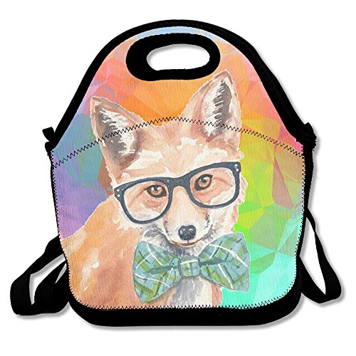 Watercolor Fox With Sunglass And Bow Tie Lunch Bag Tote Handbag Lunchbox Food Container Tote Cooler Warm Pouch For School Work - Recycled Be Can Sunglasses