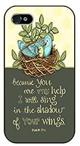 iPhone 5 / 5s Birds nest. Because you are my help I will sing in the shadow of your wings. Psalm 37:1 - black plastic case / Inspirational and motivational Bible verse, biblical, verses