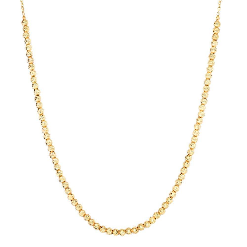 Cadena ovalada de oro amarillo de 14 quilates de 2,6 – 1,1 mm con cuentas de corte brillante – 43 centímetros