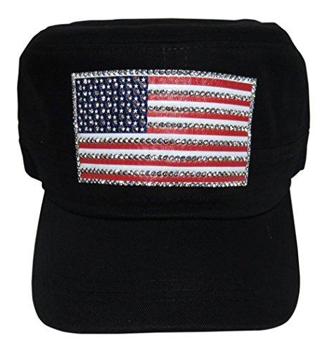 (Spirit Caps Rhinestone USA Flag Cadet Cap Hat Accessories Patriotic (Black))