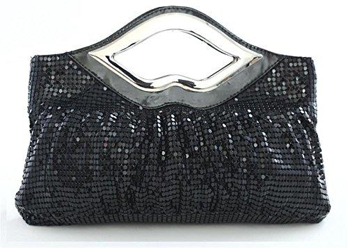 Clutch Black Purse Ladies' Evening kingluck Large Luxurious Rhinestone 1Hx8wwIOq